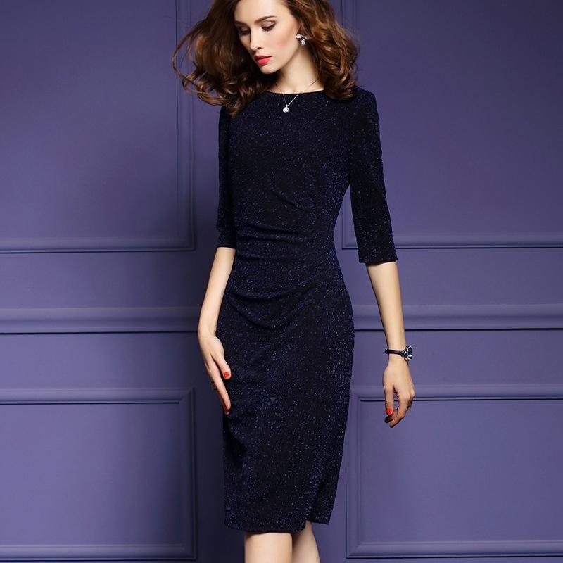 Fashion Office Style Elegant Super Slim Bodycon Midi Dress Voguesus