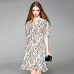 Silk Fashion Floral Print Short Sleeve Round Neck Dress