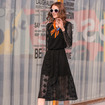 Fashion Elegant Black Lace Round Neck Maxi Dress