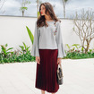Gray Based Floral Embroidery Long Flute Sleeve Shirt
