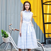Fresh Sleeveless Striped Midi Dress With Tie Belt And Collar Detail