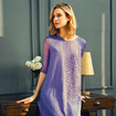 Elegant Exquisite Embroidery Layer Mesh Dress In Mulberry Silk