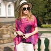 Elegant Loose Painting Print Layered Silk T-Shirt