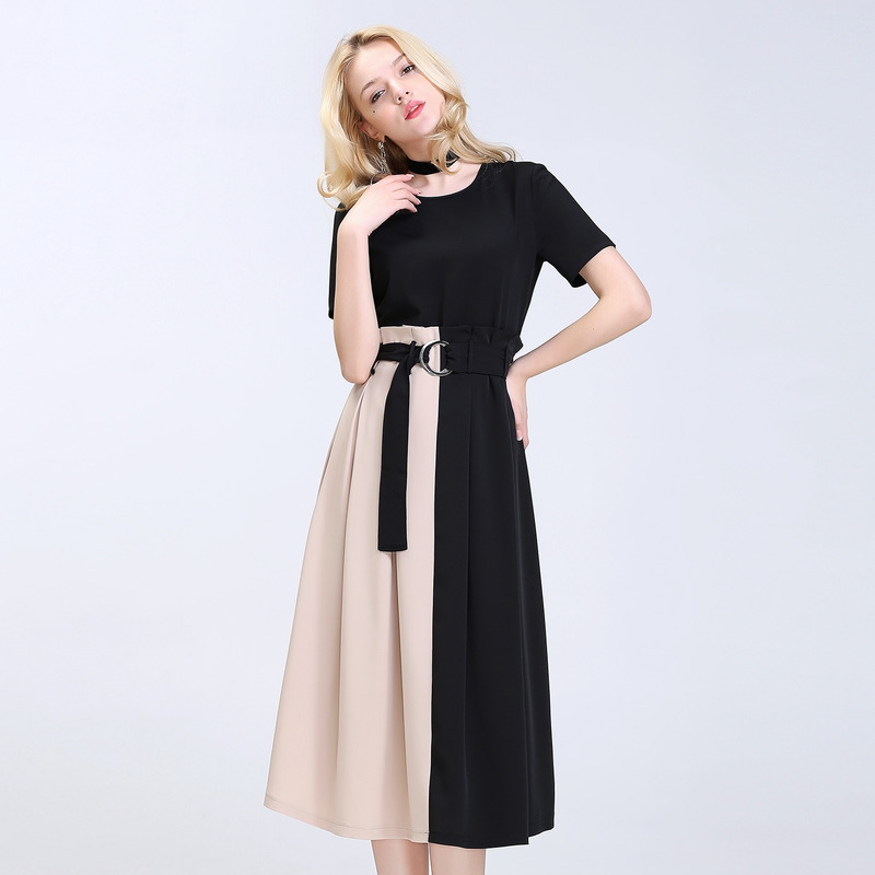 ec6b58874ae41 Fashion Spliced Contrast Color Short Sleeve Midi Dress With Collar Detail