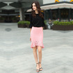 Elegant Cutwork Lace Fishtail Pink Bodycon Skirt