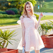 Pink Organza Cold Shoulder Round Neck Ruffle Front A Line Dress