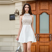 Fashion Cold Shoulder Lace Spliced A Line Dress