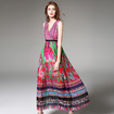 Fashion V Neck Floral Print Bohemian Style Ruffle Maxi Dress
