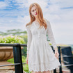 White Embroidered Long Sleeves Chiffon Lace Dress