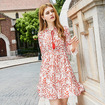 Floral Leaf Print Long Sleeves A Line Dress With Flute Sleeve Detail