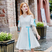 White Cold Shoulder A Line Dress With Ribbon Bow Tie Detail