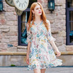 Fresh Print Half Flute Sleeve Midi Dress With Bow Tie Front