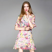 Silk Elegant Daffodils Print A Line Dress With Bell Sleeve
