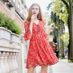 Elegant Red Floral Print V Neck  A Line Dress With Flute Sleeve