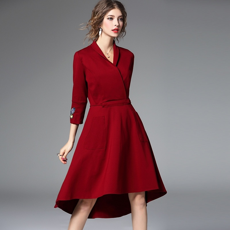Asymmetrical Dress with Sleeves