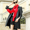 Simple Style 3/4 Sleeve Single Breasted Genuine Sheep Leather Trench Coat