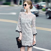 Floral Embroidery Eugen Flute Sleeve Dress With Contrast Ruffle Hem