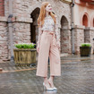 Stitching Woven Casual Long Wide Leg Trousers
