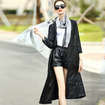 New Look Cotton Jacquard V Neck Coat Trench With Press Stud Fastening