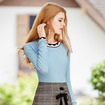 Light Sky Blue Round Neck Knitted Long Sleeve T-Shirt