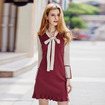 Autumn Contrast Color Knitted Ruffle Hem Dress With Tie Neck