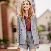 Women's Plaid Long Sleeve Tailored Blazer And Straight Shorts Two Sets