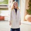 Winter Overcoat White Solid Color Lapel Wool Coat With Two Flap Pockets