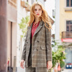 Women's England Lattice Double Breasted Suit Blazer With Flap Pockets