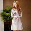 Floral Embroidery Lapel Half Sleeves Dress With Tie Waist
