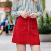 Women's Red A Line Stitching Detail Skirt With Flap Pockets