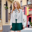 White OL Style Long Sleeve Lapel Blazer With Ball Button