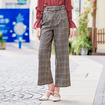 England Style Casual Check Wide Leg Trousers With Ring Belt