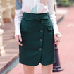 Solid Color Retro Zipper Short Skirt Slim Was Thin Casual Skirt