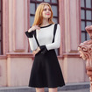 Round Collar Hit Color Horn Sleeves Fake Two Knit Dress