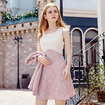 Round Collar Hit Color Stitching Sleeveless Sweet Wild a Word Dress