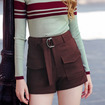 Solid Color Metal Ring Belt Straight Pants Wild Shorts