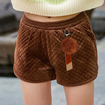 Elastic Waist Straight Bottom Warm Wild Plush Shorts