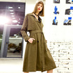 Double Breasted Belt Long Sleeve Large Lapel Trench Coat