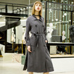 Double Breasted Large Lapel Trench Coat With Tie Waist