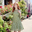 Steal a Kiss Round Neck Bell Sleeve Lace Dress With Cutwork Detail