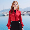 Bowknot Round Solid Color Woven Temperament Ladies Shirt