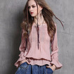 Vintage Embroidered Ruffled Long-Sleeved Shirt