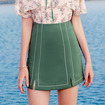 Waist Pencil Hit Color Embroider Line Skirt